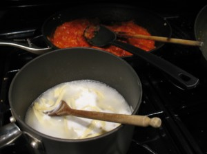 cooking pasta, homemade tomato sauce